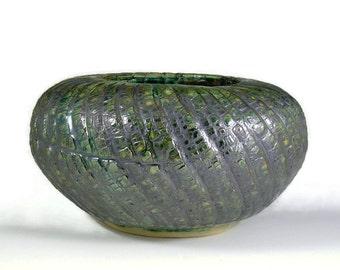 Ceramic Vase - Green Bark Texture - Handmade Sculpture Pottery - Work of Art - Wheel Thrown Centerpiece - Ships Today