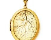 Falling - Gold Autumn Harvest Nature Scene Photo Locket Necklace - Oval Grande Edition