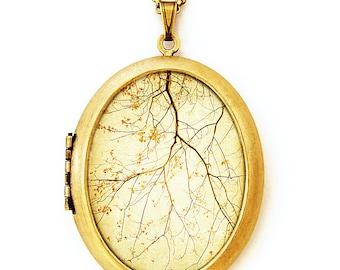 Falling - Gold Autumn Harvest Nature Scene Photo Locket Necklace - Oval Grande Edition