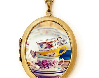 Tea Party - Pretty Tea Cups Photo Locket Necklace