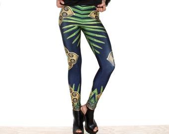Printed Yoga Leggings, Workout Pants, Yoga Pants, Womens Leggings, Tropical Print Leggings, Comfortable, Made in Canada, Norwegian Wood