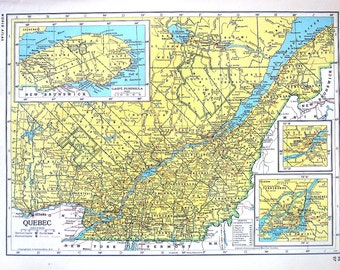Quebec Map, Ontario Map - Canada Map - 1947 Large 2 Sided Book Plate from Vintage World Atlas