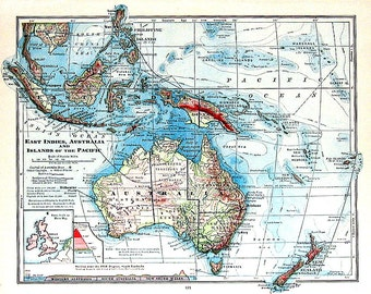 1906 Antique Colored Map of the East Indies, Australia and the Islands of the Pacific