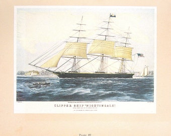Vintage 1942 Currier and Ives Book Page - Clipper Ship Nightingale, The Drunkards Progress