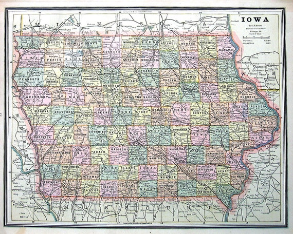Map Of Iowa Map Of Missouri US State Map By Mysunshinevintage