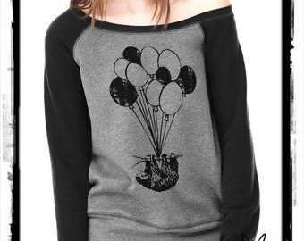 SLOTH flying balloons Bella Wide neck Sweatshirt Off the shoulder slouchy long sleeve shirt silkscreen screenprint