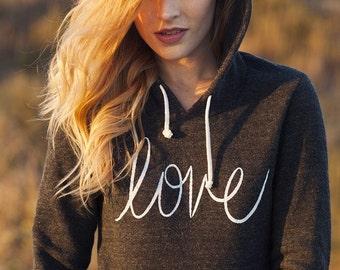LOVE Hoodie Sweatshirt Alternative Apparel Kangaroo Pocket long sleeve sweater