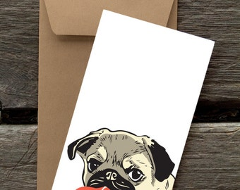 Pug with Heart - 8 Blank flat notecards and envelopes