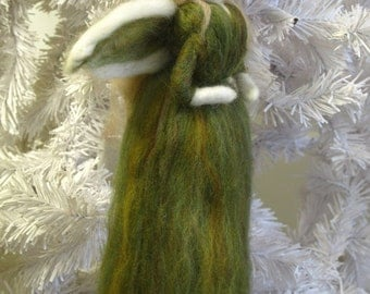 Needle Felted Fairy / Angel Ornament Olive Green