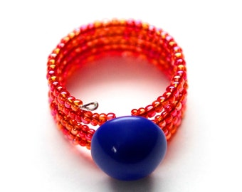 Button Ring - Cobalt Blue and Hot Red