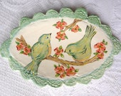 Ceramic Platter, Aqua Mint Green and Coral Red, Painted Birds with Flowers, Scalloped Lace Edge