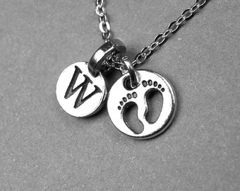 Baby Feet Necklace, Baby footprints, new mom necklace, baby shower, personalized jewelry, initial necklace, monogrammed letter, charm