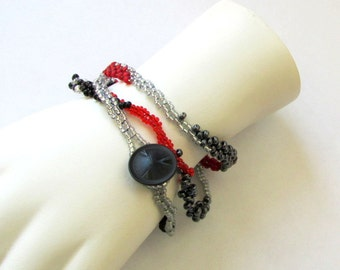 Freeform Peyote Bracelet - Red and Black Bracelet - Beaded Wrap Bracelet - Free Form Peyote - Gifts under 20