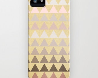 plastic phone case -geometric- triangles-neutral colors- beige pale pink - Muted Triangles iphone Case