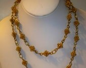 Gold Filigree Chain Necklace Vintage Filigree Bead Links Long Necklace