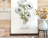 Anemone Study Vol.1 - large wall hanging, wood trim and printed on textured cotton canvas. Vintage Science Posters