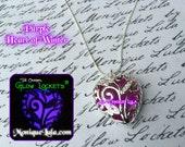 Purple Heart of Frozen Winter Forest Glows Violet  Glowing Necklace