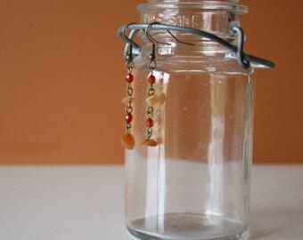Brass & Stone Bead Earrings. Handmade Dangles