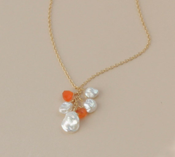 Keshi Pearl Necklace: Orange Carnelian Keshi Pearl Necklace Beach Wedding Jewelry