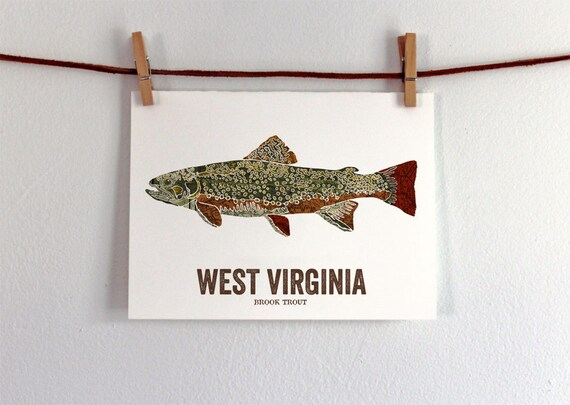 West virginia state fish map art nature outdoor art vintage for West virginia fishing