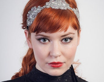 Alice Silver Beaded Flapper Headband Pick Your Color Ribbon / Black/ Plum/ Ivory/ Rose/ Gray // Handmade
