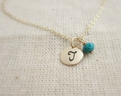 Tiny gold initial necklace, December birthstone necklace, personalized birthstone, turquoise necklace, December birthday gift idea for her