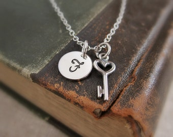 Couples necklace, Tiny key necklace Sterling silver initial necklace with heart key charm, circle initial disc, personalized girlfriend gift