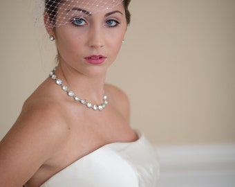 Small Birdcage Blusher Wedding Veil with Rhinestones Made to Order ---22 Colors Available