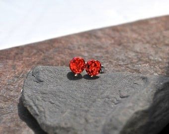 Tiny Post Earrings Sterling Silver, Red Sparkly Studs, Sparkly Earrings, Valentines Day Gifts