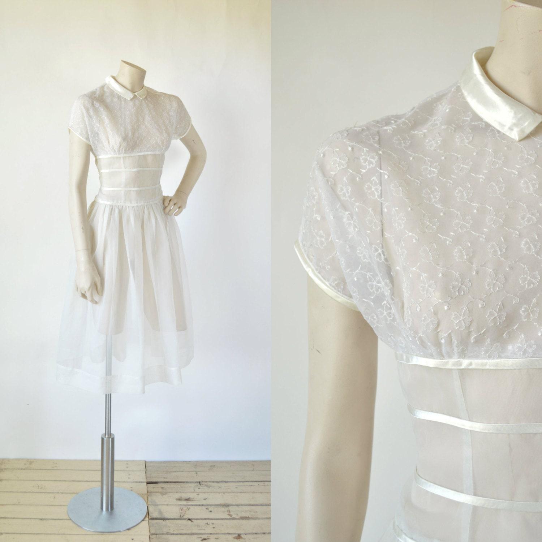 1950s Wedding Dress Vintage Short White Dress