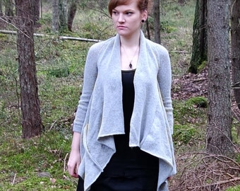 gray cardigan, short sleeve cardigan, mohair cardigan, asymmetrical jumper, gray cardigan, wedding cardigan, bridal jumper, freeform jumper