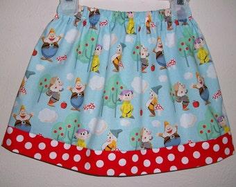 Girls Skirt Snow White and the Seven Dwarfs Skirt Sky blue with Red dots toddler skirt Fairy Tale Skirt Summer Skirt with Apples Twirl Skirt