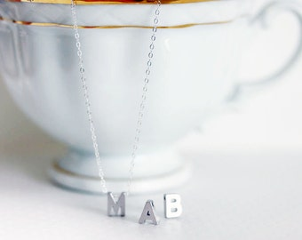 Silver Initial Necklace Silver Letter Necklace Personalized Letter Charm Sterling Silver Fine Chain