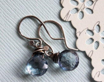 Little Blue Earrings Blue Gemstone Earrings Everyday Earrings Midnight Blue Earrings Hand Forged Sterling Silver Earrings