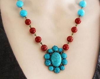 Turquoise Beaded Necklace Red Coral Jewelry Flower Statement  Necklace Turquoise Coral Necklace Beadwork