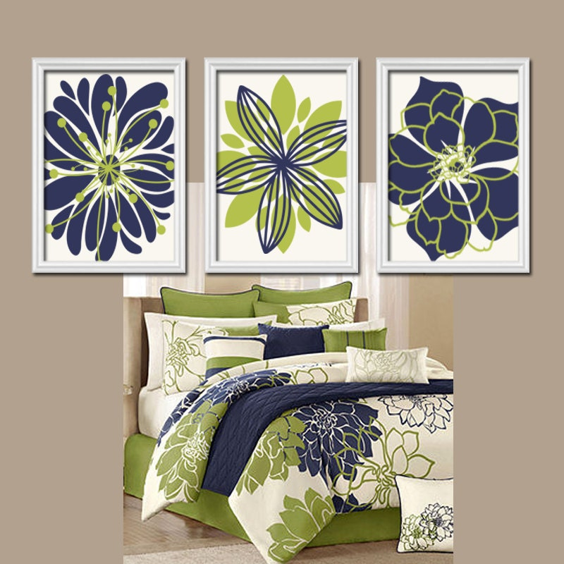 Navy blue kitchen wall decor : Navy blue green wall art bedroom canvas or prints by trmdesign