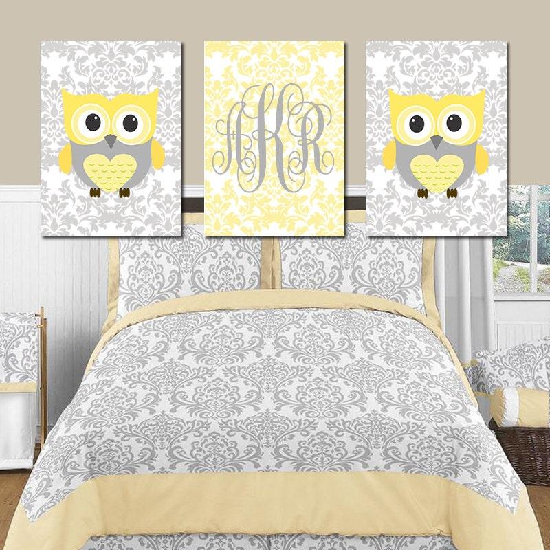 Owl Nursery Wall Art YELLOW GRAY OWL Damask Girl Bedroom