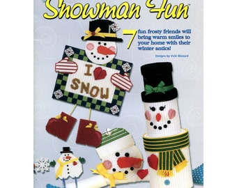 Snowman Fun Plastic Canvas Pattern - Wind Chime, Garland, Draft Stopper, Ornament - HOWB 181095