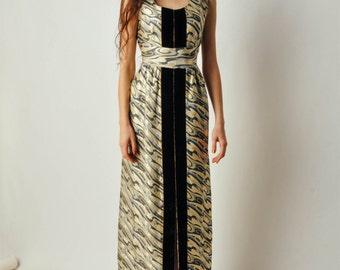 Vintage Brocade Dress with Front Slit