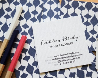 ikat teardrop calling cards / business cards/ blogger cards - set (50)