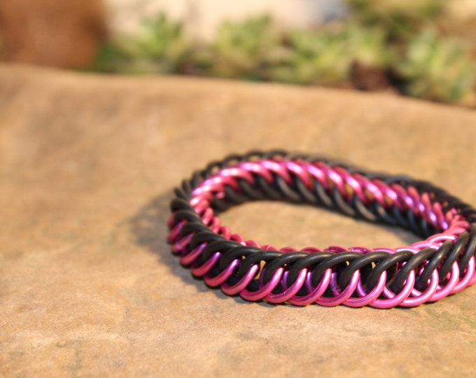Pink and Black Stretchy Half Persian Chainmaille bracelet
