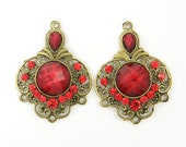 Red Antique Brass Rhinestone Chandelier Earring Findings Filigree Gypsy Boho Jewelry Component |R2-7|2