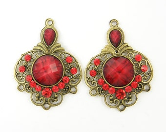Red Antique Brass Rhinestone Chandelier Earring Findings Filigree Gypsy Boho Jewelry Component |R2-7|2