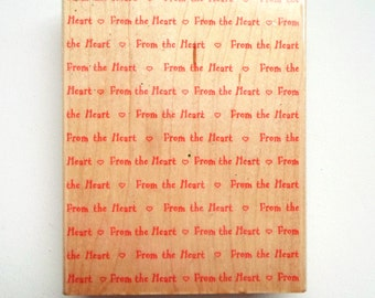 Large Background Stamp - Hero Arts Wordprint Background Stamp - From The Heart Stamp, Wedding Stamp, Valentines Day Stamp