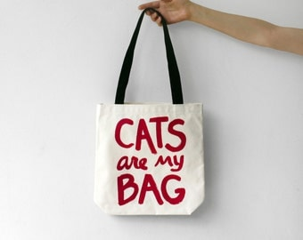 CATS are my BAG Tote bag, gift for women, gift for her, canvas tote bag, cat lover gift, crazy cat lady, funny tote bag, gift for teen
