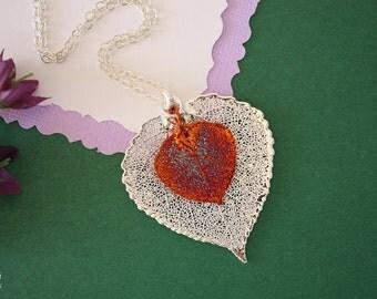 Double Aspen Leaf Necklace, Aspen Leaf Necklace, Double Leaves, Silver Leaf, Copper Leaf, Real Leaf, DLC69