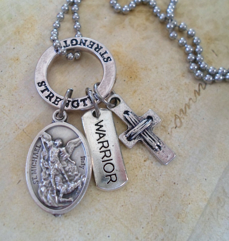 archangel michael warrior necklace holy medal by marysprayers