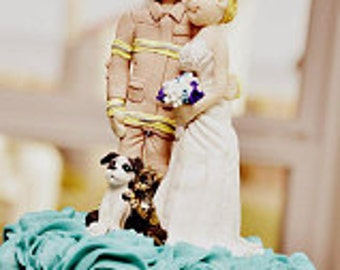 Custom wedding cake topper, personalized cake topper, Bride and groom cake topper, Mr and Mrs cake topper, Fireman cake topper
