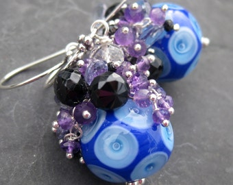 Gemstone and boro glass bead earrings - sterling silver - cobalt and violet - amethyst earrings - dangle earrings - cluster earrings