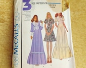 Vintage 1970's Dress Jessica McClintock Style Vintage McCalls 4381 Romantic 70's Dress Womens Size 10 Size 70's Wedding Dress Pattern